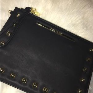 steven madden clutch ~ black with gold detailing